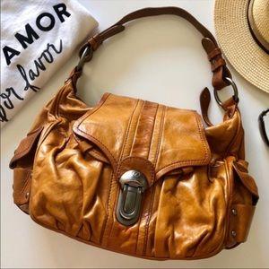 Francesco Biasia cognac hobo shoulder bag